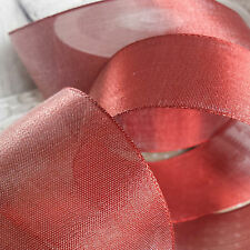 50mm Wire Edge Sheer Metallic Ribbon. Wedding, Florist, Bow. Copper Red or Gold.