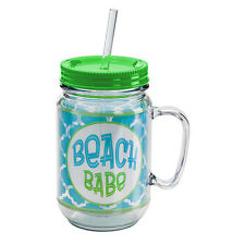 Beach Babe Clear Acrylic Mason Jar Cup with Lid & Straw Insulated Tumbler