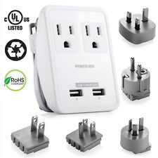 UK/US/AU/EU/JP Universal Travel AC Power Charger Adapter Plug Converter Dual USB