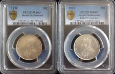 1920 1921 Straits Settlements 50c PCGS MS62 MS63 Lot Of 2 Coins Km-35.1