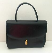 Vintage bn Binean Davis Black Leather Designer Handbag 1950S 1960S Structured