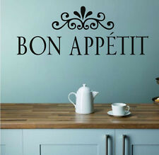 Flower Pattern Bon Appetit Wall Sticker French Language Removable Home Decor