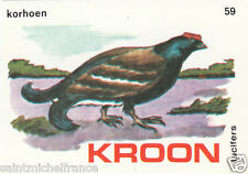 Tétras lyre Lyrurus tetrix - Black Grouse MATCHBOX LABEL CARD IMAGE 1973
