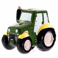 Novelty Modern Ceramic Tractor Children's Money Box - Traditional Farming Green
