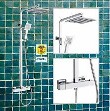Premium Square  Modern Overhead Rain Thermostatic Mixer Shower Valve Exposed Kit