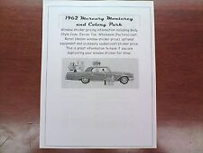 1962 Mercury big-car factory cost/dealer sticker pricing for car + options--62