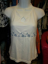 HALTER HALTERS WHI TOP BLUE EMBROIDERY TOPS TANK TANKS CAMI CAMIS FUNKY PEOPLE M