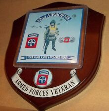 The 82nd Airborne Veteran Wall Plaque personalised.