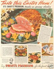 VTG 1939 Swift's Meat Premium EASTER EGG Ham Dinner Kitchen Food Cooking Art Ad