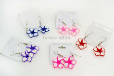 FREE Wholesale lots 12Pairs polymer clay flowers dangle Silver tone earrings