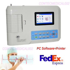 Color LCD Portable Digital 3-channel 12-lead Electrocardiograph ECG Machine EKG