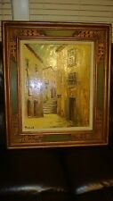 """ANTIQUE  ORIGINAL OIL ON CANVAS """"OLD CITI STREET""""?SIGNED,FRAMED,CITISCAPE"""