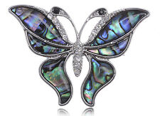 GB silver Faux Shell Wing Queen Butterfly Clear Rhines Fashion Pin Brooch