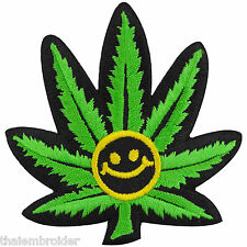 Smiley Face Marijuana Weed Leaf Cannabis Funny Rasta Hippie Iron-On Patches R026