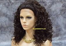 "24"" Long Curly Layered Dark Brown Full Lace Front Wig Heat Ok Hair Piece  #4 NWT"