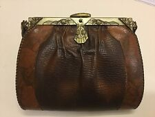 Antique MEEKER Leather purse handcrafted PAT. DATE 1915-1917 Roses On Frame