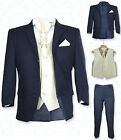 SIRRI Page Boys Formal Navy Gold Wedding Suit, 5PC Boys Navy Suit Age 1 to 15