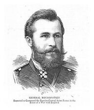 RUSSIA General Aleksey Kuropatkin - Antique Print 1885