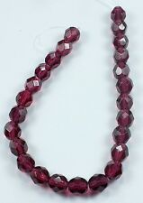 25 Fuchsia Czech Firepolished Faceted Round Glass Beads 6mm