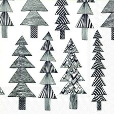 KUUSIKOSSA white black pine trees Marimekko paper lunch napkins new 20 in pack