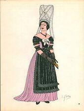 Gravure d'Emile Gallois costume des provinces françaises 1950 Saintonge