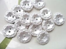 15pcs Buttons Victorian Pearl White Flower Wave Rim Coat Dress Sewing 15mm