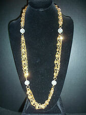 PAOLO GUCCI LONG 14K PLATED CHAIN & BALL NECKLACE ESTATE JEWELRY VINTAGE Unworn