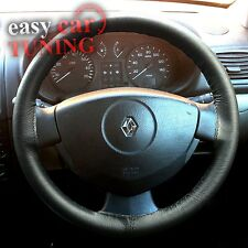 FOR RENAULT MODUS 2004-PRESENT BLACK GENUINE REAL LEATHER STEERING WHEEL COVER