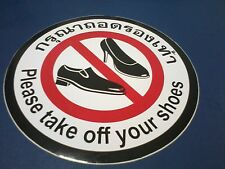 PLEASE TAKE OFF YOUR SHOES THAI & ENGLISH STICKER DECAL NONREFLECTIVE FREE SHIP