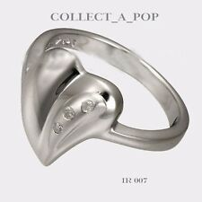 Authentic Kameleon Ice 925 Silver Solid Matte Heart Ring Size 8  IR007