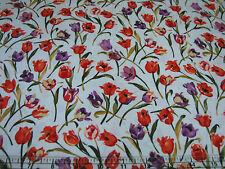 3 Yards Quilt Cotton Fabric- FF Hanover Square Small Tulips Orange & Purple