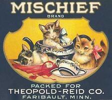 CATS, CHATS, KATZEN, ADVERTISEMENT FOR MISCHIEF TEA, CAT IN TEA POT, MAGNET