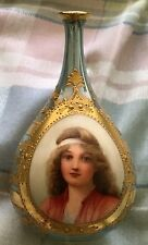 Lovely Antique Royal Vienna Vase with Wonderful Portrait of Girl by Wagner