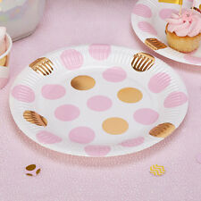 8 x Pink & Gold Polka Dot Paper Plates Baby Shower Tea Party Hen Party Wedding