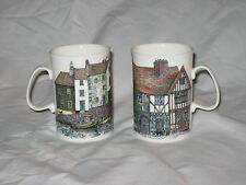 Dunoon Fine Bone China 2 Mugs / Cups Cottages England by Sue Scullard