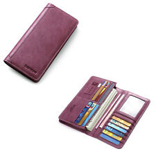 Women Quality Real Leather Bifold Long Purse Card Holder Lady Billfold Wallet