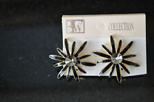 Vintage Black Earrings Costume Jewery #M