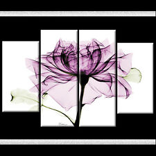 Plum Rose Light Room Art Picture Canvas Purple Floral 110cm XL 4 Part Gift Xmas