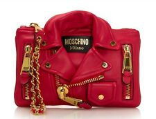 AW15 Moschino Couture Jeremy Scott Red Biker Jacket Clutch Bag CUTE & RARE