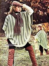 FUNKY WOVEN PONCHO - 8ply or DK - Ladies crochet pattern