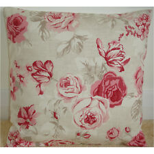 """16"""" Rose Cushion Cover Pink and Beige Roses Floral Flowers"""