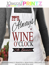 Personalised Apron Womans Wine O'Clock Baker Birthday Christmas Mothersday Gift