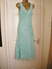 12 BERKERTEX DRESS BEADED AQUA GEORGETTE LONG CALF LENGTH WEDDING PARTY CRUISE