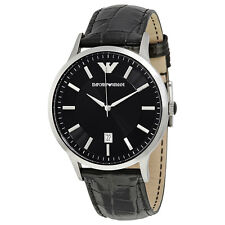 Emporio Armani Black Dial Black Leather Mens Watch AR2411