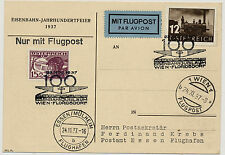 ÖSTERREICH 1937 FLUGPOST! KARTE, WIEN nach ESSEN. EISENBAHNJUBILÄUM