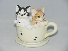 "Delton 3.5"" Resin Cat Kitten Figurine CATS IN A TEA CUP"
