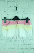 New Ladies Reverse Denim Dip Dye Ombre Cut Off Hot Pants Shorts sz 10 UK