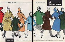 PUBLICITE  BLIZZAND / BOUSSAC MODELES 57  signé GRUAU MODE FASHION AD 1957