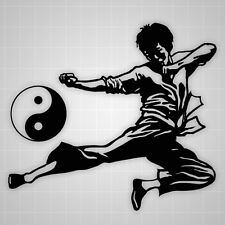 Kun Fu vinyl sticker,Yin Yang vinyl hieroglyph,karate wall decal,gym decor decal