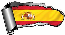 Ripped Open GASH Rip Torn Metal & Spain Spanish Country Flag Car Sticker Decal